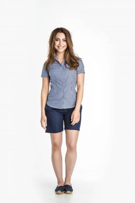Aris Uniforms-FB18-Short Sleeve Check Blouse