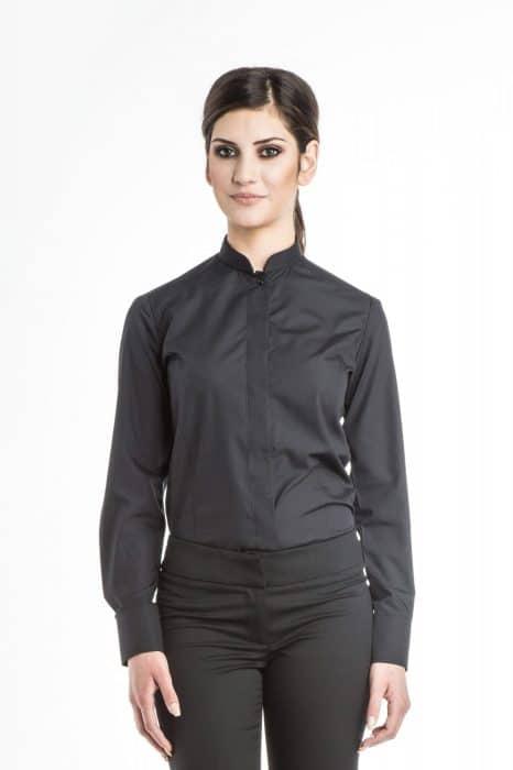 Aris Uniforms-FB03-Long Sleeve Manadarin Collar Blouse